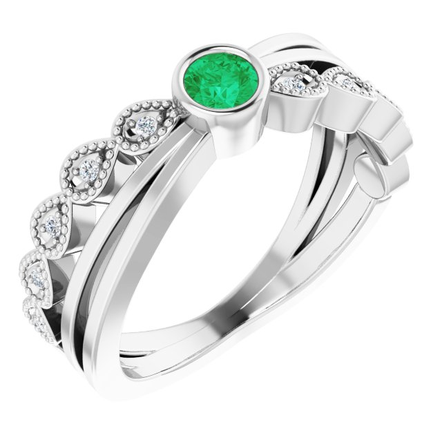 Emerald Ring in Sterling Silver Emerald & .05 Carat Diamond Ring