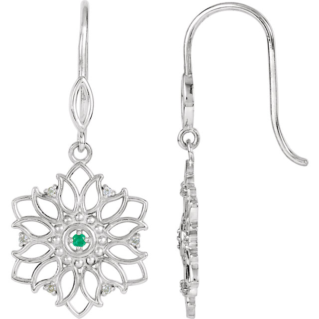 Stunning Sterling Silver Emerald & .06 Carat Total Weight Diamond Earrings