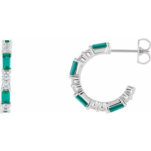 Genuine Emerald Earrings in Sterling Silver Emerald & 1/2 Carat Diamond Earrings