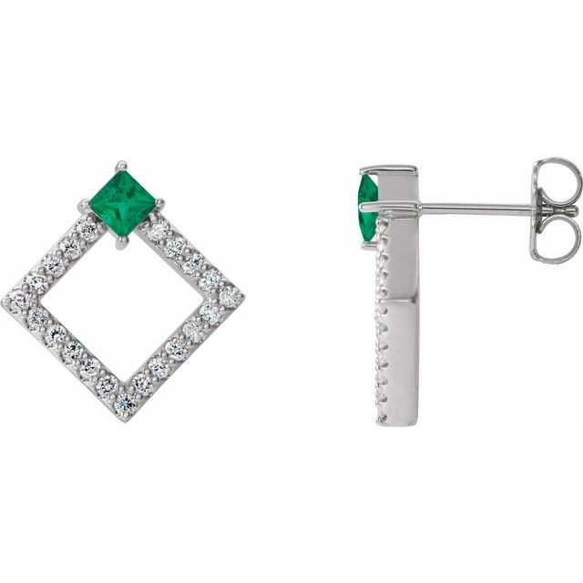Genuine Emerald Earrings in Sterling Silver Emerald & 1/3 Carat Diamond Earrings