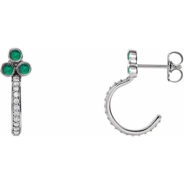 Genuine Emerald Earrings in Sterling Silver Emerald & 1/4 Carat Diamond J-Hoop Earrings