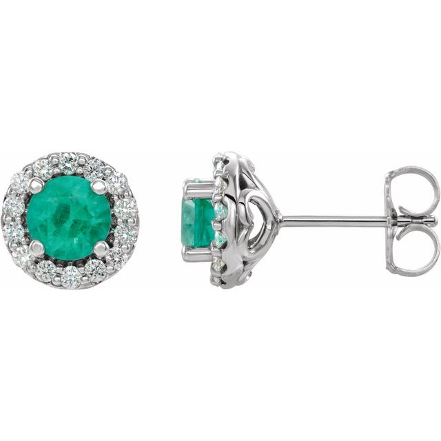 Genuine Emerald Earrings in Sterling Silver Emerald & 1/6 Carat Diamond Earrings