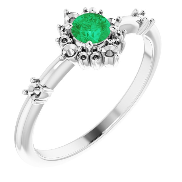 Emerald Ring in Sterling Silver Emerald & 1/6 Carat Diamond Ring