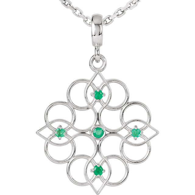Fine Quality Sterling Silver Emerald 18