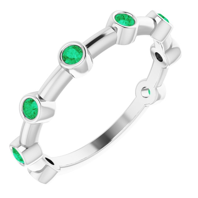Emerald Ring in Sterling Silver Emerald Bezel-Set Bar Ring