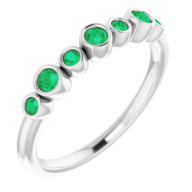 Emerald Ring in Sterling Silver Emerald Bezel-Set Ring