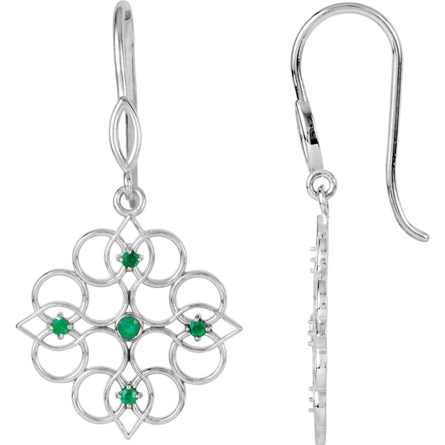 Great Deal in Sterling Silver Emerald Earrings