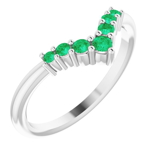 Emerald Ring in Sterling Silver Emerald Graduated
