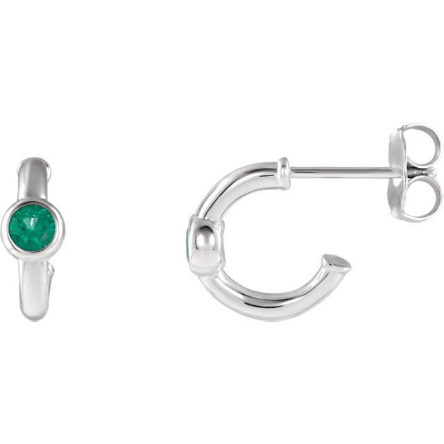 Buy Sterling Silver Emerald J-Hoop Earrings