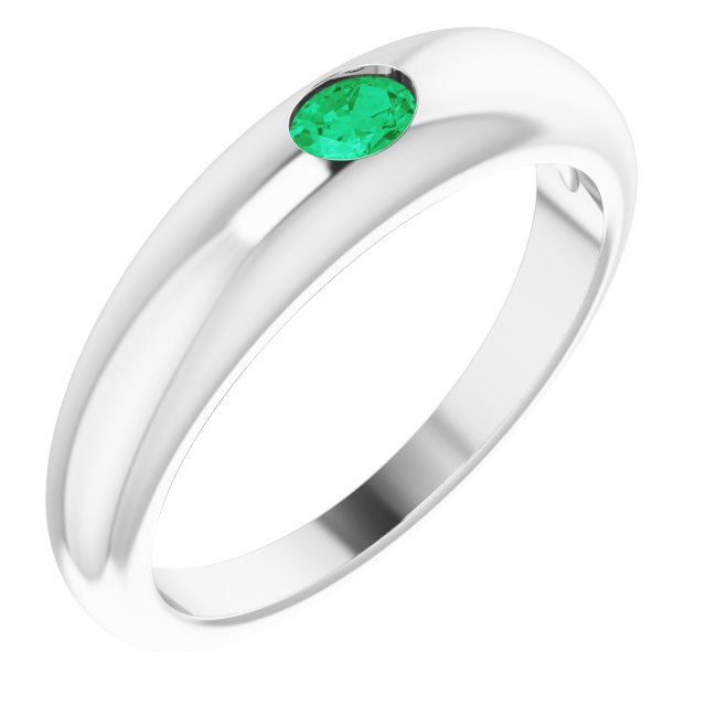 Emerald Ring in Sterling Silver Emerald Petite Dome Ring