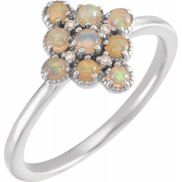 Genuine Opal Ring in Sterling Silver Ethiopian Opal & .02 Carat Diamond Ring