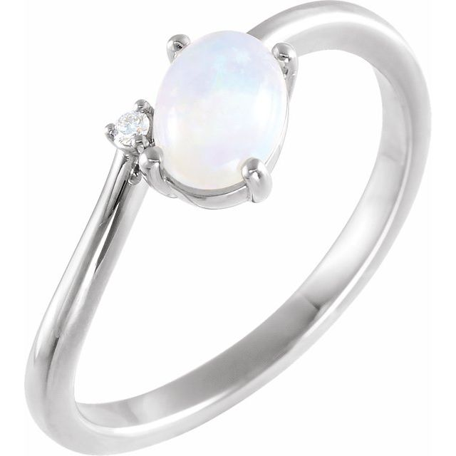 Genuine Opal Ring in Sterling Silver Ethiopian Opal & .03 Carat Diamond Bypass Ring