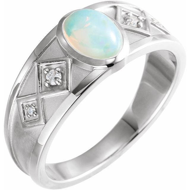 Genuine Opal Ring in Sterling Silver Ethiopian Opal & .05 Carat Diamond Ring