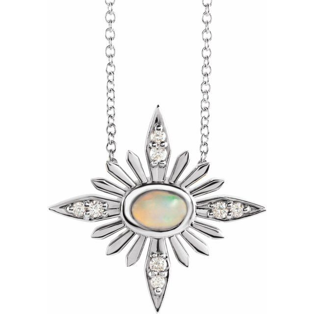 Real Opal Necklace in Sterling Silver Ethiopian Opal & .08 Carat Diamond Celestial 16-18