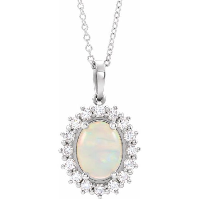 Real Opal Necklace in Sterling Silver Ethiopian Opal & 1/3 Carat Diamond Halo-Style 16-18