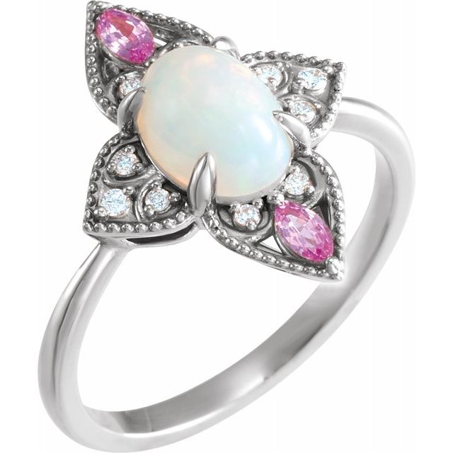 Genuine Opal Ring in Sterling Silver Ethiopian Opal, Pink Sapphire & .05 Carat Diamond Vintage-Inspired Ring