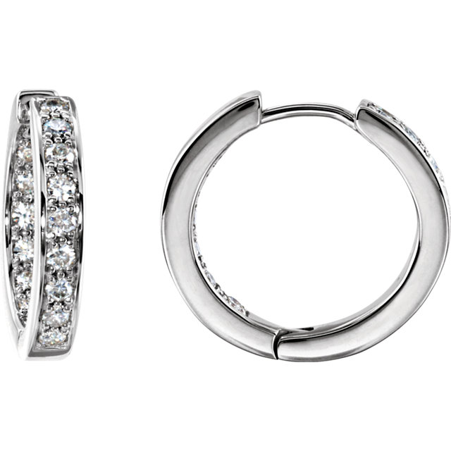Sterling Silver Forever Classic Moissanite Hoop Earrings