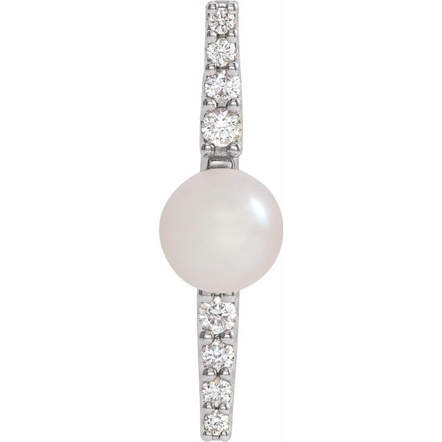 Freshwater Pearl Pendant in Sterling Silver Freshwater Cultural Pearl & 1/6 Carat Diamond Pendant