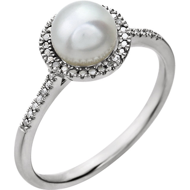 Sterling Silver Freshwater Cultured Pearl & .01 CTW Diamond Ring