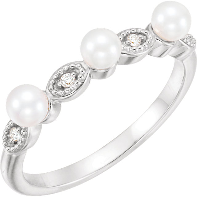 Fine Quality Sterling Silver Freshwater Cultured Pearl & .03 Carat Total Weight  Diamond Stackable Ring
