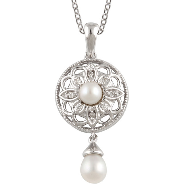 Sterling Silver Freshwater Cultured Pearl & .04 Carat Total Weight Diamond 18