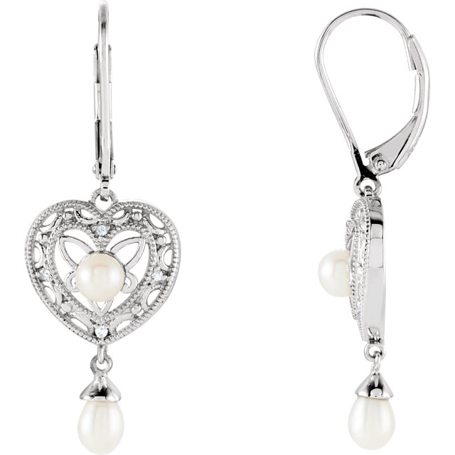 Great Deal in Sterling Silver Freshwater Cultured Pearl & .04 Carat Total Weight Diamond Earrings