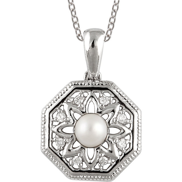 Sterling Silver Freshwater Cultured Pearl & .05 Carat Total Weight Diamond 18