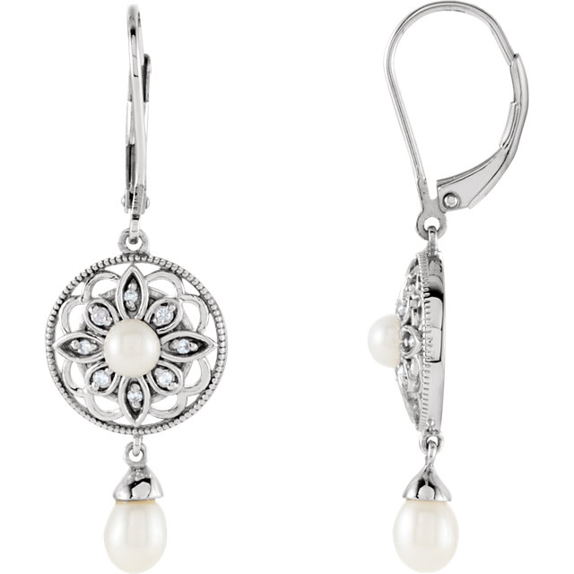 Eye Catchy Sterling Silver Freshwater Cultured Pearl & .08 Carat Total Weight Diamond Earrings