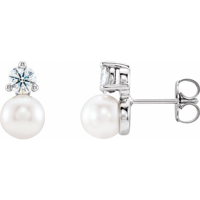 Genuine Pearl Earrings in Sterling Silver Freshwater Cultured Pearl & 1/2 Carat Diamond Earrings