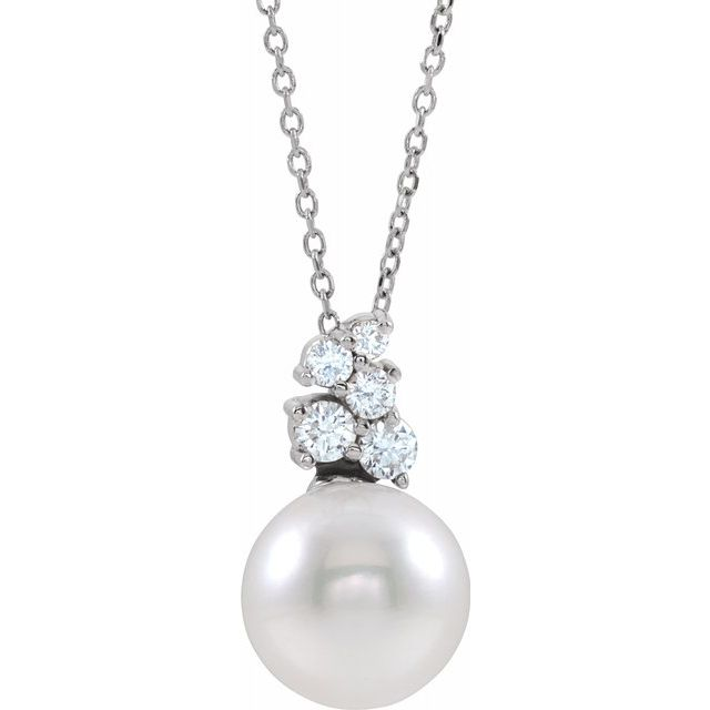 Real Pearl Necklace in Sterling Silver Freshwater Cultured Pearl & 1/4 Carat Diamond 16-18