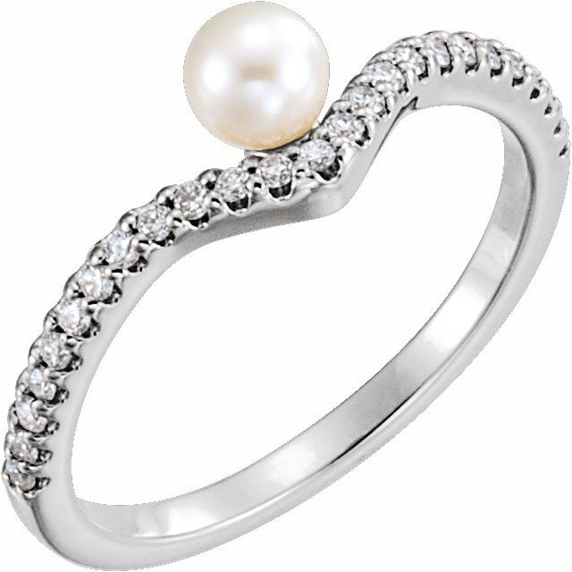 White Pearl Ring in Sterling Silver Freshwater Cultured Pearl & 1/5 Carat Diamond V Ring