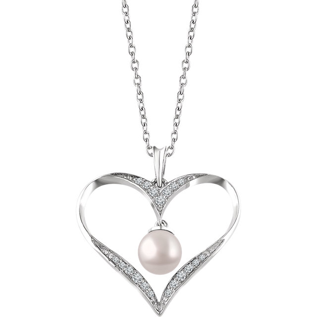 Chic Sterling Silver Freshwater Cultured Pearl & 0.17 Carat Total Weight Diamond 16-18