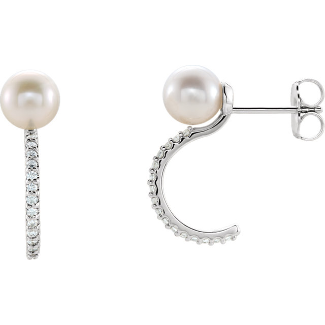 Perfect Gift Idea in Sterling Silver Freshwater Cultured Pearl & 0.17 Carat Total Weight Diamond J-Hoop Earrings