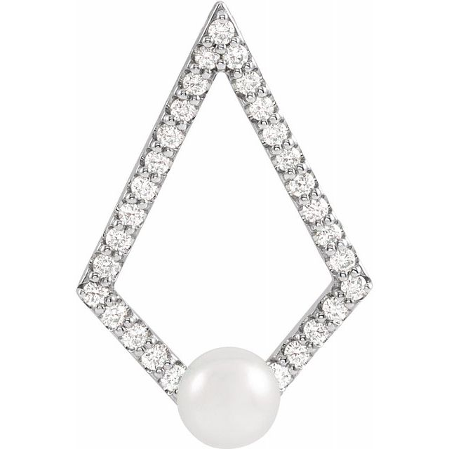 Real Cultured Freshwater Pearl Pendant in Sterling Silver Freshwater Cultured Pearl and 1/4 Carat Diamond Pendant