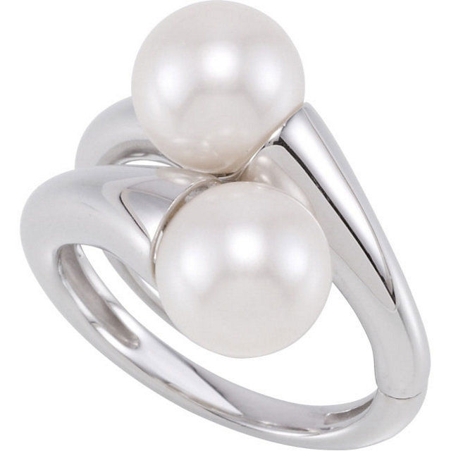 Sterling Silver Freshwater Cultured Pearl Hinged Ring