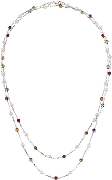 Sterling Silver Freshwater Cultured Pearl & Multi-Gemstone 42