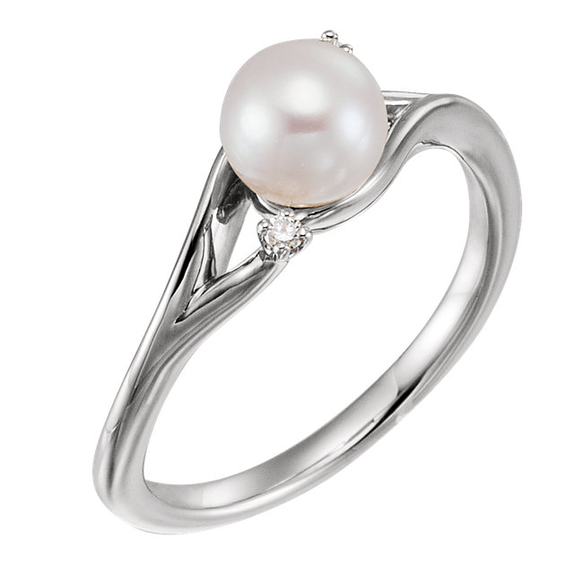 Gorgeous Sterling Silver Freshwater Pearl & .03 Carat Total Weight Diamond Bypass Ring