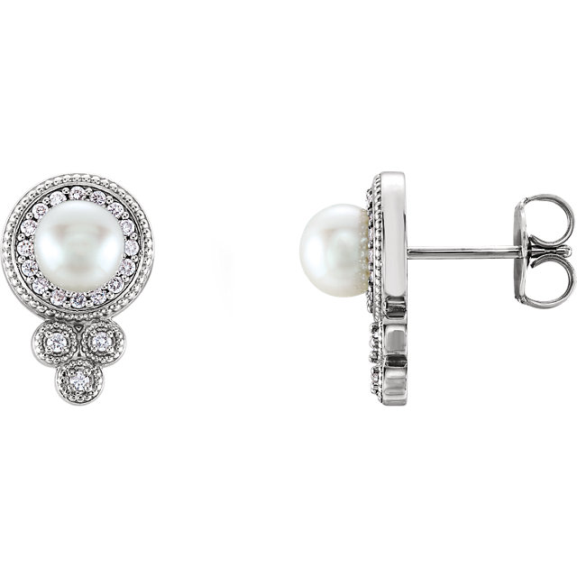 Stunning Sterling Silver Freshwater Pearl & 0.20 Carat Total Weight Diamond Earrings
