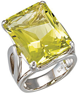 Sterling Silver Green Gold Quartz Ring