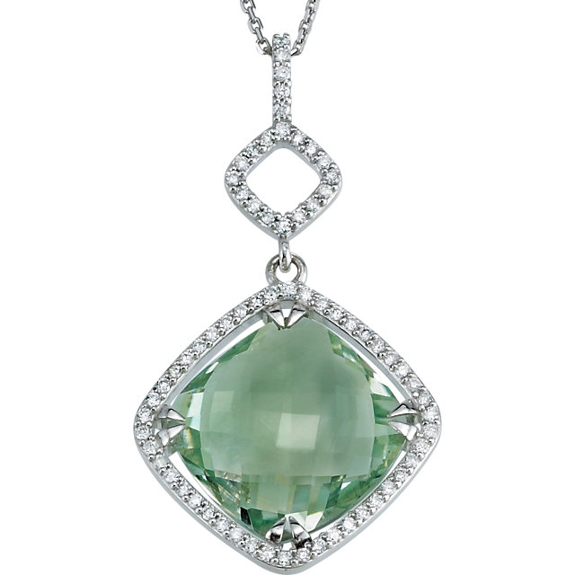 Appealing Jewelry in Sterling Silver Green Quartz & 0.33 Carat Total Weight Diamond 18