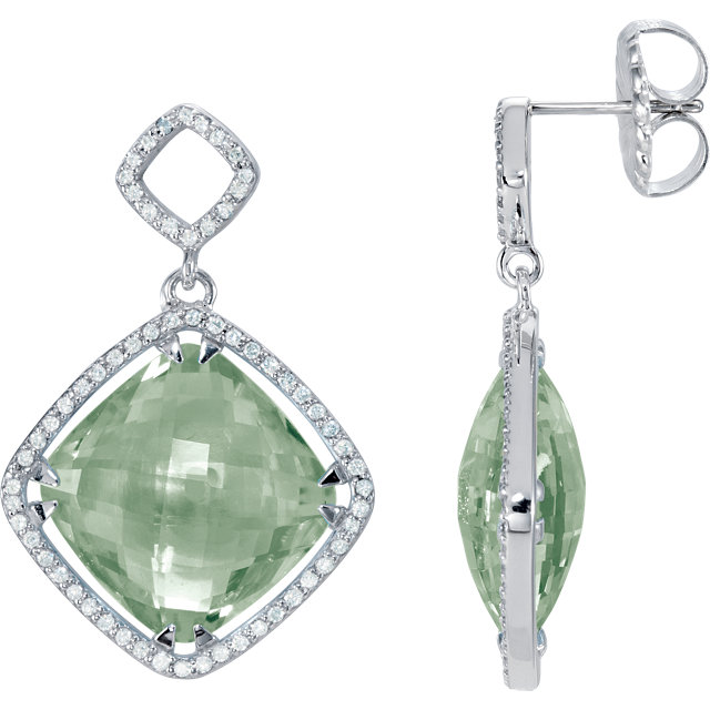 Very Nice Sterling Silver Green Quartz & 0.60 Carat Total Weight Diamond Earrings