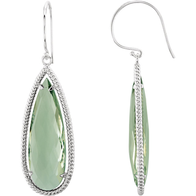 Sterling Silver Green Quartz Earrings