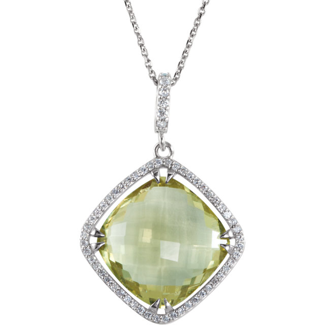 Sterling Silver Halo-Style Cushion-Shaped Dangle Pendant or Necklace