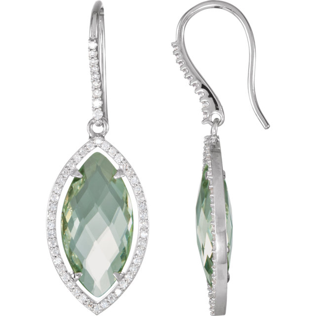 Great Gift in Sterling Silver Halo-Style Marquise-Shaped Dangle Earrings