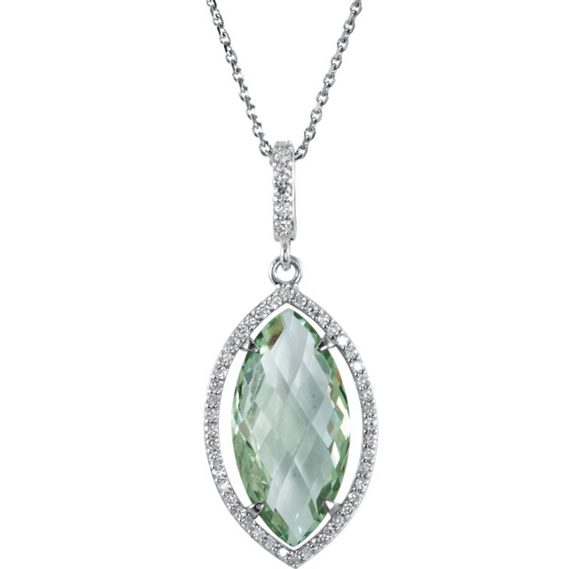 Perfect Jewelry Gift Sterling Silver Green Quartz & 0.25 Carat Total Weight Diamond Halo-Style 18