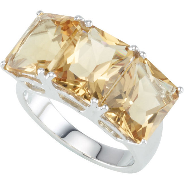 Must See Sterling Silver Honey Quartz 3 Stone Ring
