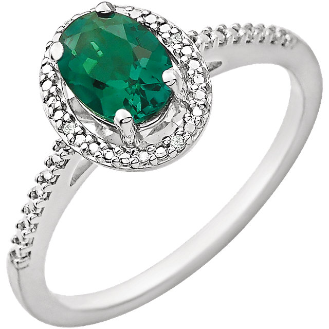 Fine Quality Sterling Silver Lab Created Emerald & .01 Carat Total Weight Diamond Ring