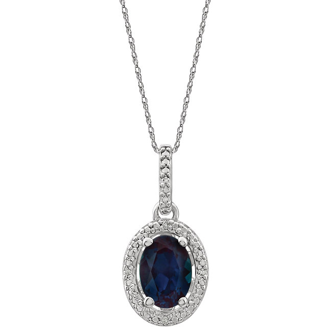 Magnificent Sterling Silver Lab-Grown Alexandrite & .01 Carat Total Weight Diamond 18