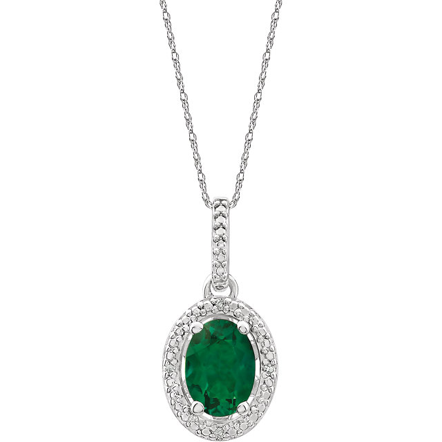 Contemporary Sterling Silver Lab-Grown Emerald &.01 Carat Total Weight Diamond 18