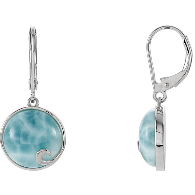 Genuine Larimar Earrings in Sterling Silver Larimar Lever Back Earrings